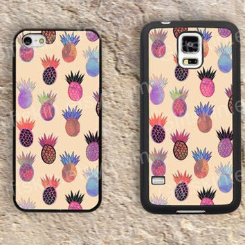 Cartoon Pineapple colorful  iphone 4 4s iphone  5 5s iphone 5c case samsung galaxy s3 s4 case s5 galaxy note2 note3 case cover skin 092