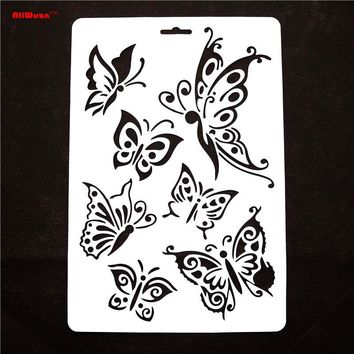 1pcs/lot 30.5*21cm Butterfly Stencils Butterfly Shaped Painting Template Thin Plastic Plate Material School Educational Supplies