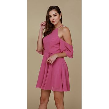 Cold Shoulder Mid Length Sleeve Short Party Dress Mauve