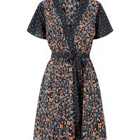 Black Contrast Ditsy Floral Wrap Front Dress | New Look