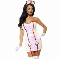 Sexy Adult Halloween Smiffy's Women Sequin Nurse Dazzle Costume w Gloves Size- S