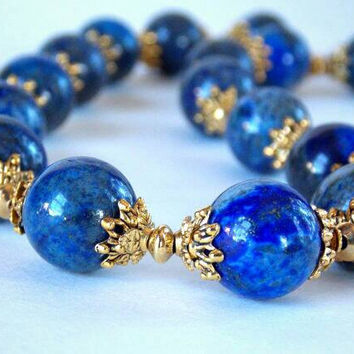 Lapis Lazuli, Antique Gold, Brass Necklace
