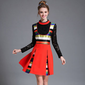 Women Plus Size Color Contrast Striped Lace Patchwork Long Sleeve Fit And Flare Occasion Autumn Dress l-5xl