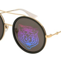 Gucci Green with Tiger Emblem Round Sunglasses GG0061S 014 56