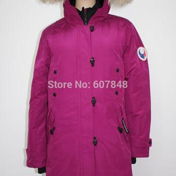 Women Fashion Brand MANASEAMON Overcoat Winter Coat Kensington Parka Goose Down Feather Jacket Coyote Fur Collar for Lady G12