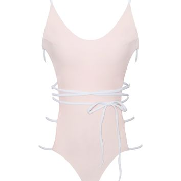 Paros Light Pink Side Detail One Piece Swimsuit