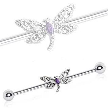 316L Stainless Steel Ornate Dragonfly Industrial Barbell