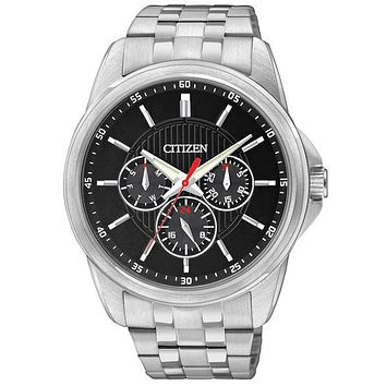 Citizen Quartz Multifunction Mens Watch - Black Dial - Stainless Steel - Day
