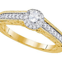Diamond Bridal Ring with 0.33ct Center Round Stone in 14k Gold 0.68 ctw