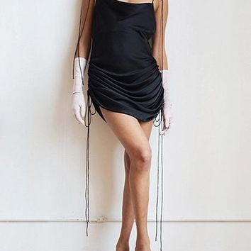 Black Drawstring Side Open Back Chic Women Cami Mini Dress