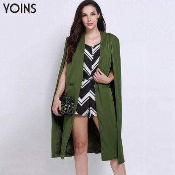 PEAPUNT YOINS Brand Clothing 2016 Women Fashion Split Long Sleeve Casual Cape Suit Blazer Ladies Coat Femininas Formal Outwear S-XXL