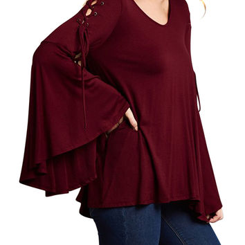 Women's Boho Chic Lace Up Bell Sleeve Tunic Flowy Top