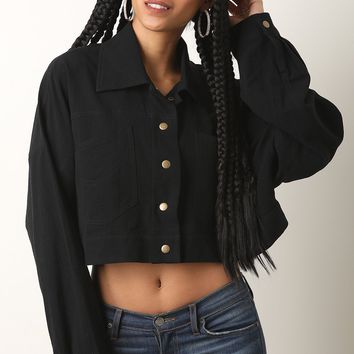 Boxy Oversize Button Up Crop Top