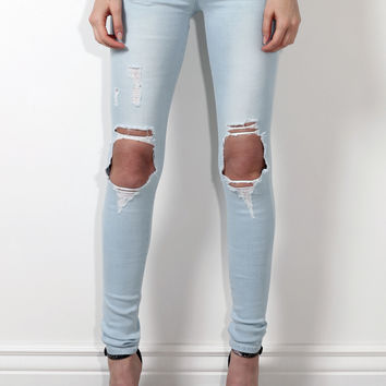 Flying Monkey Distressed Light Skinny Jeans