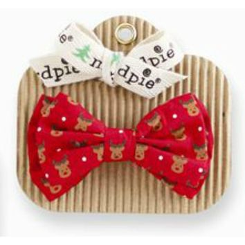 Mud Pie-Bow Tie-Reindeer Print