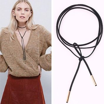N824 Black Suede Leather Cord Necklace Fashion Long Bow Choker Statement Necklaces for Women Collier Bijoux Collares