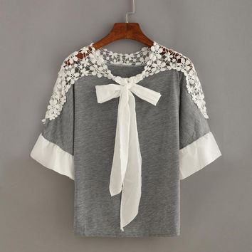 Fashion Women Blouses 2017 Cotton Lace Floral O Neck Three Quarter Sleeve Tops Tunic Casual Tops with Bow Tie Women Clothing