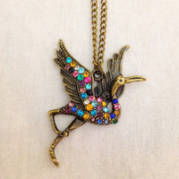 Rainbow crystaled crane bronze bird charm pendant necklace
