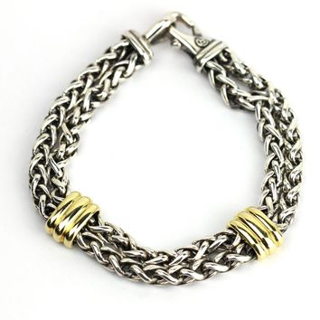 David Yurman Men's Two Station Chain Bracelet with 18k Gold in Sterling Silver
