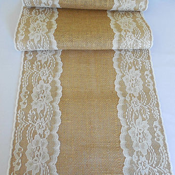 Burlap table runner rustic wedding table runner with vintage style ivory lace rustic romantic wedding decoration