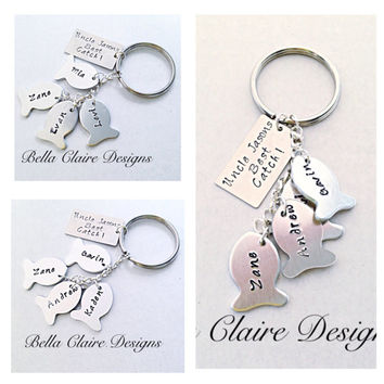 Greatest Catch Keychain,Fishing Keychain,Family Keychain, Personalized Keychain,Husband, Grandpa Gifts, Hand Stamped Keychain, Stamped Fish