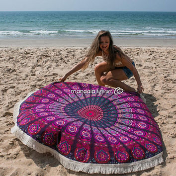 Boho Mandala Tapestry, Hippie Wall Tapestry, Bohemian Beach Throw, Bachelorette Gift Beach Wedding, Round Beach Towel