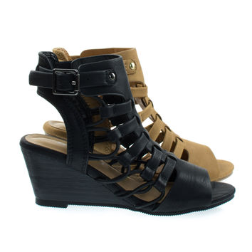 Awhile2 Black By Soda, Little Girl's Elastic Fisherman Gladiator Cage Sandal On Stack Wedge