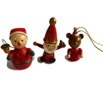Vintage Christmas Ornament . Wooden Christmas Decoration . Wood . Santa Bear and Snowman .