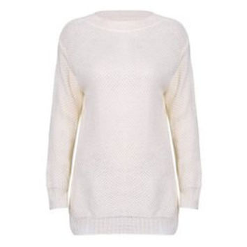 Stylish Scoop Neck Long Sleeve Solid Colour Loose-Fitting Women's Sweater