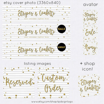 Etsy Shop Banner Set | Stripes and Gold Confetti | Shop Cover, Avatar, Listing Image, Shop Icon | Event Branding