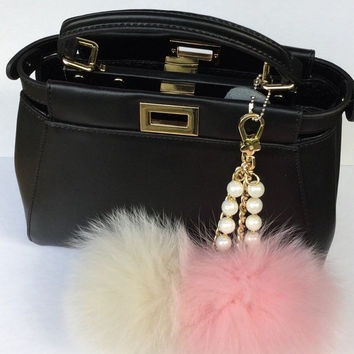 Duo Pink-Cream Princess Fox fur pom pom corsage Bag Charm Totem pendant