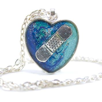 Blue Bandaid Necklace