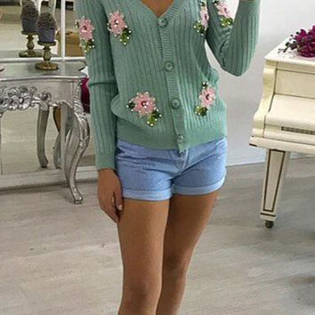 Green Flowers Embroidery Beading Single Breasted V-neck Casual Cardigan Sweater
