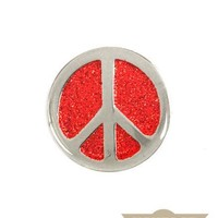 Peace Symbol Vintage Pin - Red Glitter