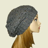 GRAY SLOUCHY Hat Crochet Knit Charcoal Grey Shouchie Beanie Slouch Hat Women Teen Great Gift Idea Dark Gray Gift Idea