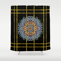 Blue bloom golden and metal sky Shower Curtain by Pepita Selles