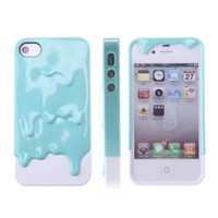 Blue&White 3D Melt Ice-Cream Skin Protect Hard Case Cover For iPhone 4 4S