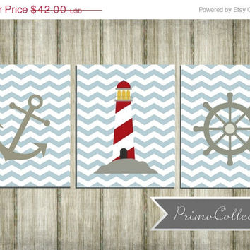 Nursery Wall Art Prints / nautical theme / 8x10 inch / trio / set of three / light blue chevron / anchor / baby boy / boy's room decor