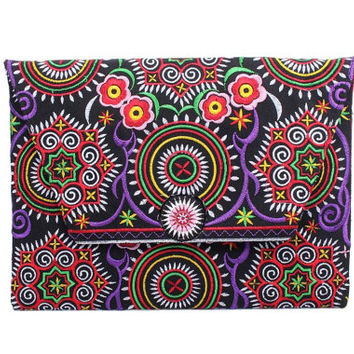 Purple Clutch With A Zodiac Embroidered Fabric Thailand (BG306DW-47C9)