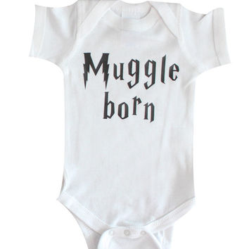 Muggle Onesuit, Harry Potter oneise, HP, Disney, Muggle, Hogwarts, Magic, Wizard, Wizarding, pregnancy announcement, harry potter clothing