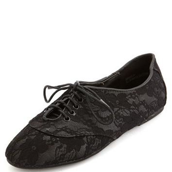 Lace Overlay Oxford Flat: Charlotte Russe