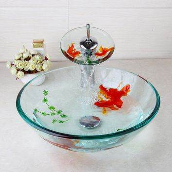 Bathroom Golden Fish transparent sink bowl basin with match waterfall faucet set (Color: White)