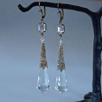 Long Art Deco Earrings Cut Crystal Prisms Vintage Czech Aiglettes and Swarovski Wedding Bridal Earrings