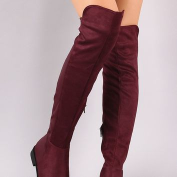 Contrast Vegan Suede High-Low Over-The-Knee Riding Boot