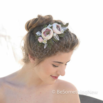 Wedding Floral Comb with Small Birdcage Veil, Blush Pink , Wedding Headpiece, Woodland Wedding Bridal Accesory, Vintage Inspired Weddings