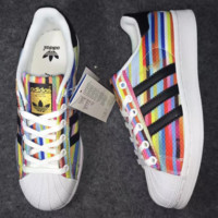 ADIDAS Rainbow color Fashion Shell-toe Flats Sneakers Sport Shoes Print G-CSXY