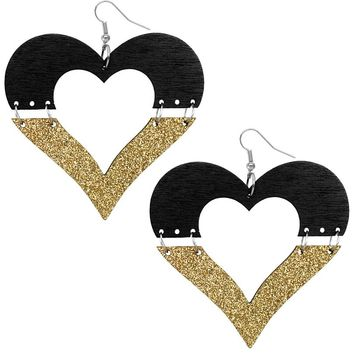 Black Wooden Linked Heart Glitter Earrings