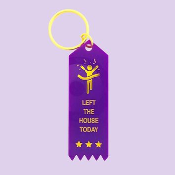 Left The House Today Plastic Keytag in Violet