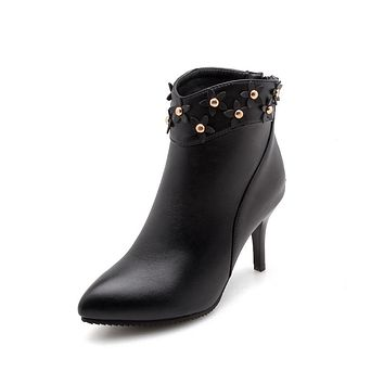 Pointed Toe Flower Studded High Heel Ankle Boots Women Shoes 8970