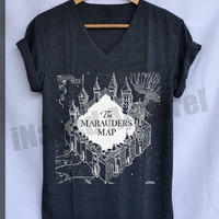 Marauder's Map Hogwarts Shirts Harry Potter Shirts V-Neck Unisex S M L
